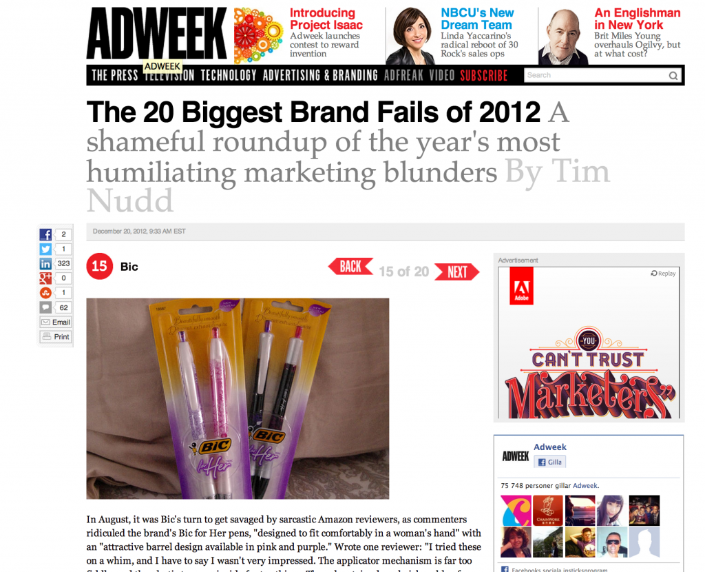 Biggest brand fails 2012
